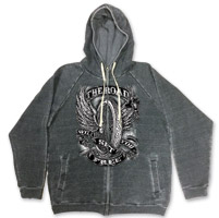 Hot Leathers Men's Flying Wheel Acid Wash Gray Zip-Up Hoodie