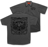 Hot Leathers Men's Brass Knuckles Charcoal Work Shirt