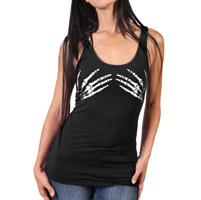 Hot Leathers Women's Skeleton Hands Black Tank Top