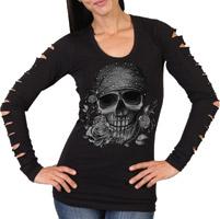 Hot Leathers Women's Skull Bandana Slits Black Long-Sleeve Shirt