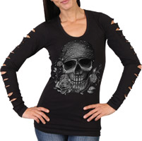 Hot Leathers Women's Skull Bandana Slits Black Long-Sleeve Shirt