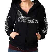 Hot Leathers Women's Passion Wings Black Zip-Up Hoodie