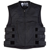Black Brand Men's Pinion Black Leather Vest