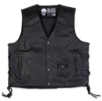 Black Brand Men's Axe Black Leather Vest