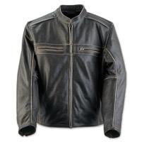 Black Brand Men's Two Lane Distressed Brown Leather Jacket