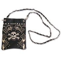 Hot Leathers Skull w/Rhinestones Black Purse