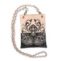Hot Leathers Filigree Cross Beige Purse