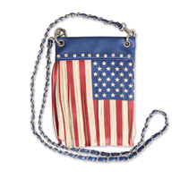 Hot Leathers American Flag Fringe Blue Purse