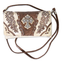 Hot Leathers Big Cross Beige Wrist Purse