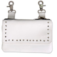 Hot Leathers Studs White Clip Pouch
