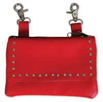 Hot Leathers Studs Red Clip Pouch