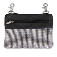 Hot Leathers Rhinestones Bling Black Pouch
