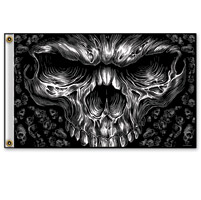 Hot Leathers Shredder Skull 3'x5' Flag