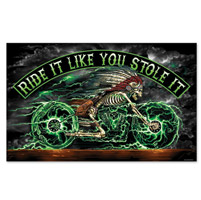 Hot Leathers Skelcycle 3'x5' Flag