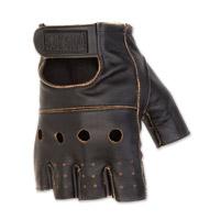 Black Brand Men's Vintage Knuckle Shorty Black Leather Gloves