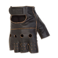 Black Brand Men's Vintage Knuckle Shorty Black Leather Gloves
