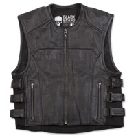 Black Brand Men's Ice Pick Perforated Black Leather Vest