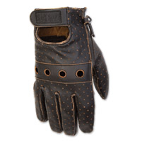 Black Brand Men's Vintage Knuckle Black Leather Gloves