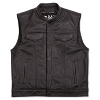 Black Brand Men's Club Black Leather Vest