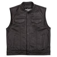 Black Brand Men's Club Black Leather Vest