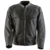 Black Brand Men's Fahrenheit Perforated Black Leather Jacket