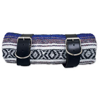 LaRosa Design Mexican Blue Serape Roll-Up Blanket W/Black Leather Straps