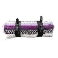 LaRosa Design Mexican Purple Serape Roll-Up Blanket W/Black Leather Straps