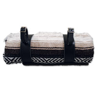 LaRosa Design Mexican Brown Serape Roll-Up Blanket W/Black Leather Straps