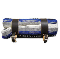 LaRosa Design Mexican Blue Serape Roll-Up Blanket W/Rustic Brown Straps