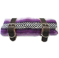 LaRosa Design Mexican Purple Serape Roll-Up Blanket W/Rustic Brown Leather Straps