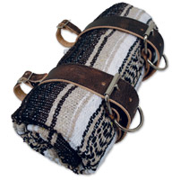 LaRosa Design Mexican Brown Serape Roll-Up Blanket W/Rustic Brown Leather Straps