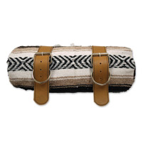 LaRosa Design Mexican Brown Serape Roll-Up Blanket W/Tan Leather Straps