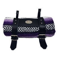 LaRosa Design Mexican Purple Serape Roll-Up Blanket W/Special La Rosa Black Leather Strap