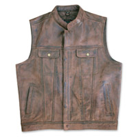 Crank & Stroker Supply Straight Bourbon Brown Leather Vest