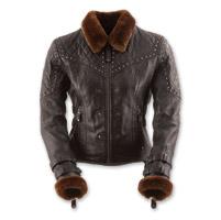 Black Brand Women's Sheared Beaver Black Leather Jacket
