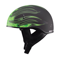 GMAX Naked Flame Flat Black/Green Half Helmet