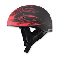 GMAX GM65 Naked Flame Flat Black/Red Half Helmet