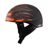 GMAX GM65 Naked Flame Flat Black/Orange Half Helmet