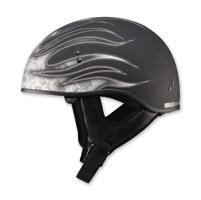GMAX Naked Flame Flat Black/Dark Silver Half Helmet