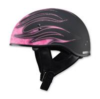 GMAX Naked Flame Flat Black/Pink Half Helmet