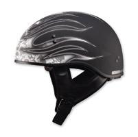 GMAX Naked Flame Flat Black/White Half Helmet