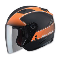 GMAX OF77 Classic Flat Black/Orange Open Face Helmet