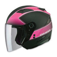 GMAX OF77 Classic Flat Black/Pink Open Face Helmet