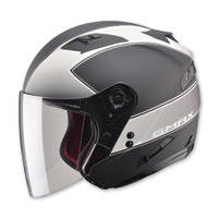 GMAX OF77 Classic Flat Black/Dark Silver Open Face Helmet