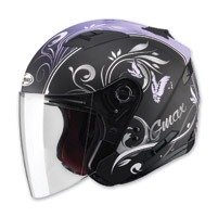 GMAX OF77 Butterflies Flat Black/Purple Open Face Helmet