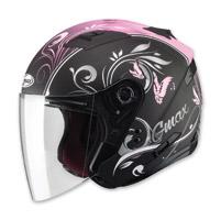 GMAX OF77 Butterflies Flat Black/Pink Open Face Helmet