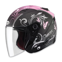 GMAX OF77 Butterflies Flat Black/Pink Open Face Helmet