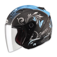 GMAX OF77 Butterflies Flat Black/Light Blue Open Face Helmet