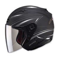 GMAX OF77 Derk Flat Black/Silver Open Face Helmet