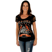 Liberty Wear Women's Wild Child Black Lace Fashion Top